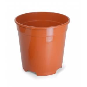 Containertopf rund, terracotta glänzend mit Abflusslöchern
