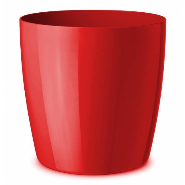 """Pflanztopf """"Teramo"""" rund, rot hochglänzend mit Wasserreservoir und Rädern"""