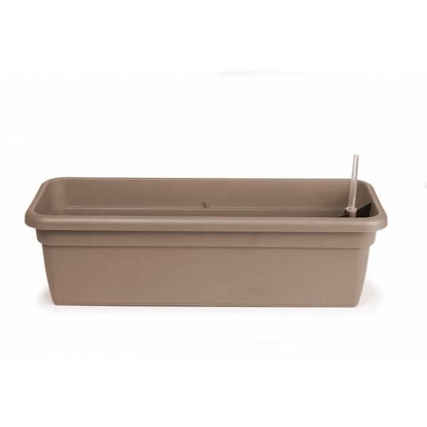 Bewässerungskasten mit Wasserreservoir und Überlauf, Füllstandsanzeige und Gießöffnung, rechteckig, taupe