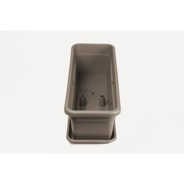 Bewässerungskasten mit Wasserreservoir und Überlauf, Füllstandsanzeige und Gießöffnung, rechteckig, taupe - Ansicht Wasserreservoir / Überlauf