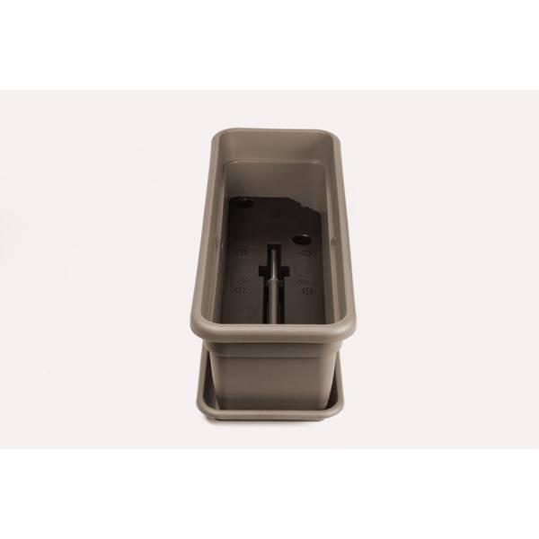 Bewässerungskasten mit Wasserreservoir und Überlauf, Füllstandsanzeige und Gießöffnung, rechteckig, taupe - Lagerung und Transport