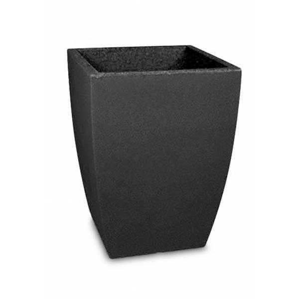 """Pflanztopf """"Bassone hoch"""", quadratisch, schwarz-granit"""