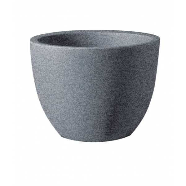 "Pflanztopf ""Bassone"", rund, schwarz-granit"