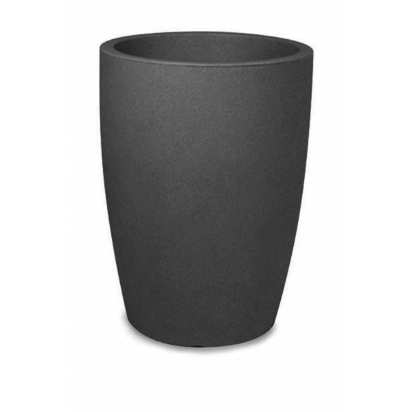 """Pflanztopf """"Bassone hoch"""", rund, schwarz-granit"""