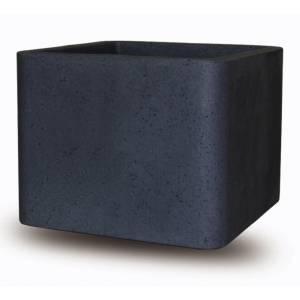 "Pflanztopf ""Ome"", quadratisch, schwarz-granit"