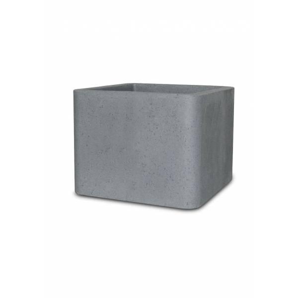 "Pflanztopf ""Ome"", quadratisch, zement-grau"