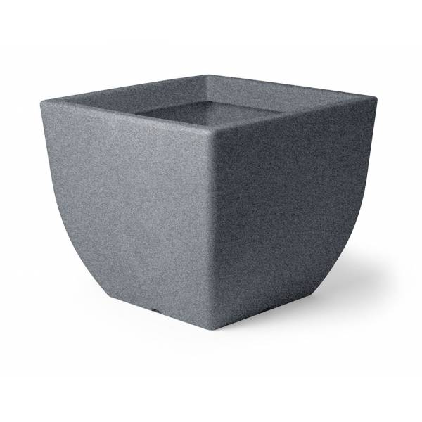 "Pflanztopf ""Bassone"", quadratisch, schwarz-granit"
