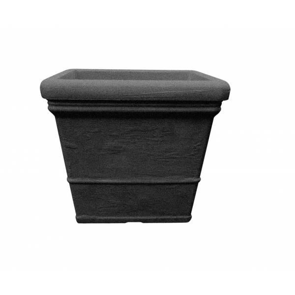 "Pflanztopf ""Sona"", quadratisch, schwarz-granit"