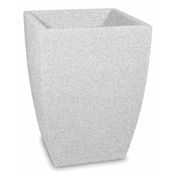 "Pflanztopf ""Bassone"", quadratisch, weiß-granit"