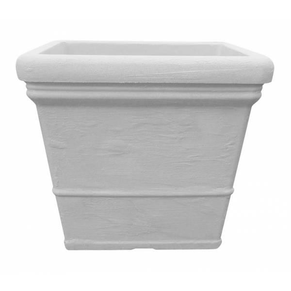 "Pflanztopf ""Lisa"", quadratisch, weiß-granit"