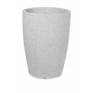 "Pflanztopf ""Bassone"", rund, weiß-granit"