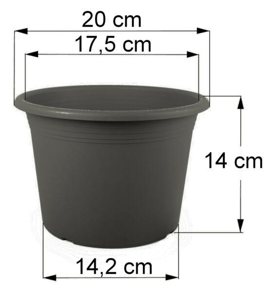 Bemaßung Cilindro anthrazit, 20 cm