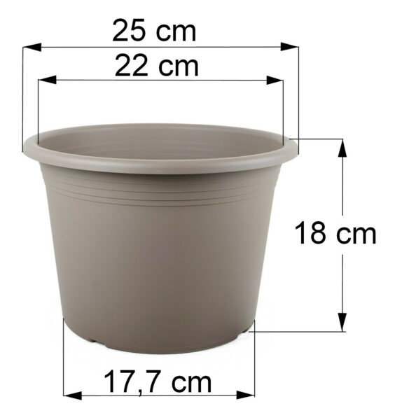 Bemaßung Cilindro taupe, 25 cm