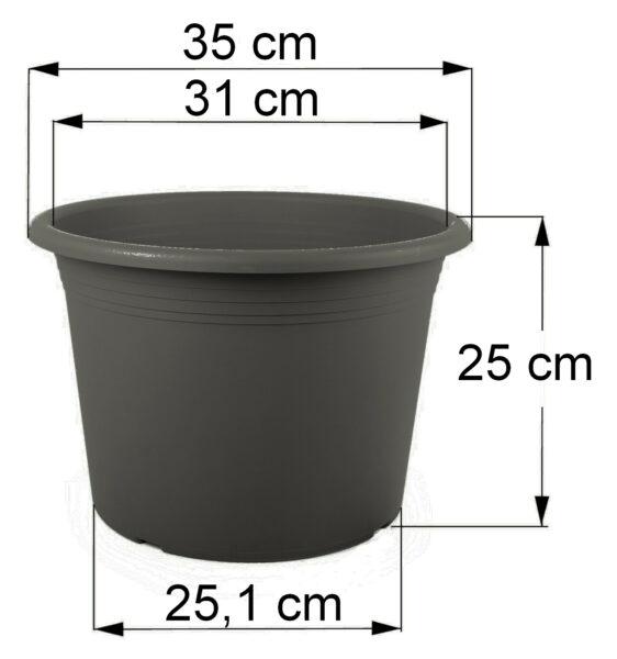 Bemaßung Cilindro anthrazit, 35 cm