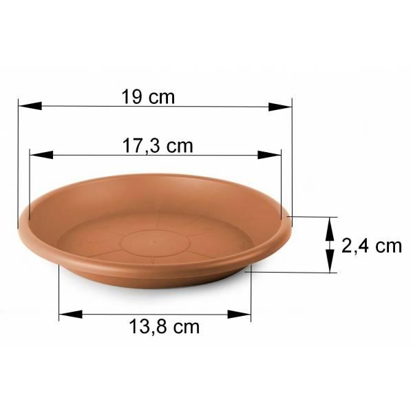 Cilindro Untersetzer terracotta Maßbild 19 cm