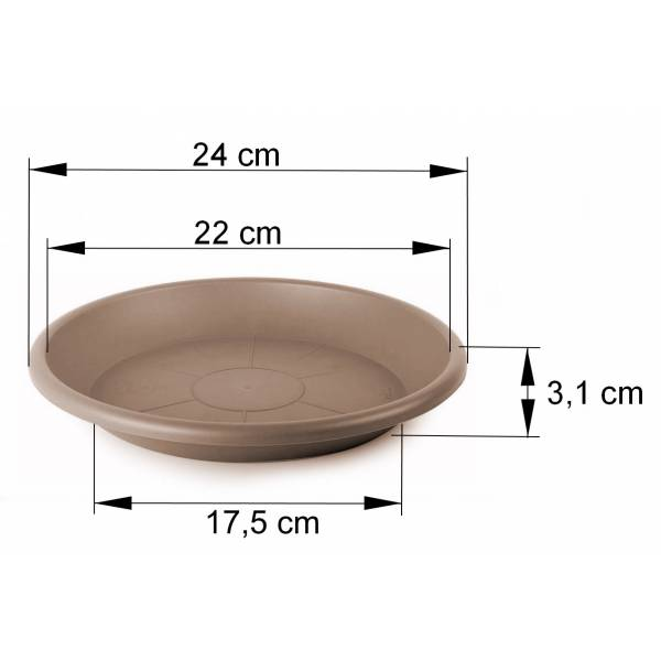 Cilindro Untersetzer taupe Maßbild 24 cm
